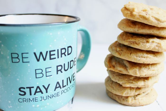 chai spiced honey cookies with crime junkie podcast mug 1