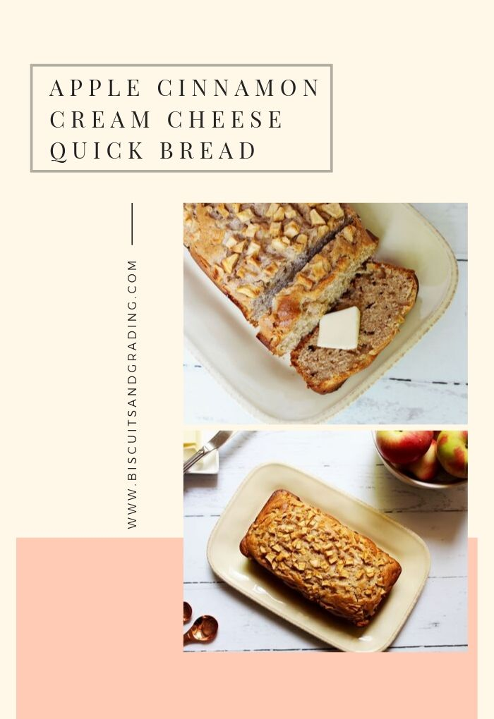 Apple Cinnamon Cream Cheese Quick Bread #fallrecipes #applerecipe #quickbread #dessert