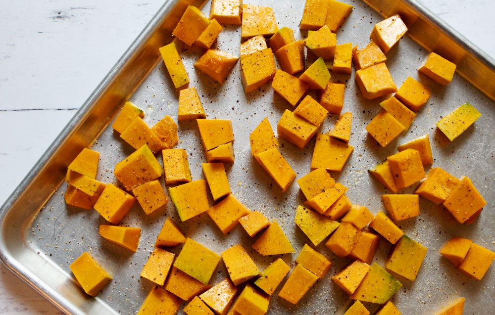 squash tossed in oil and seasoning 1