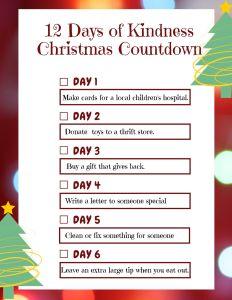 12 Days of Kindness Free Printable Pg 1