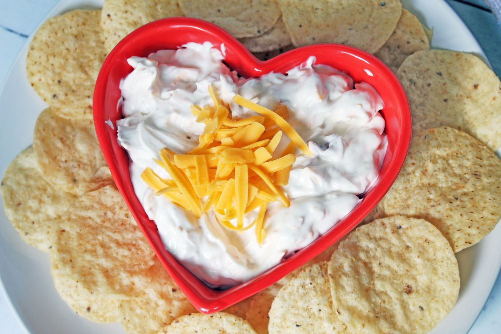 closeup of bacon cheddar ranch dip and chips 1