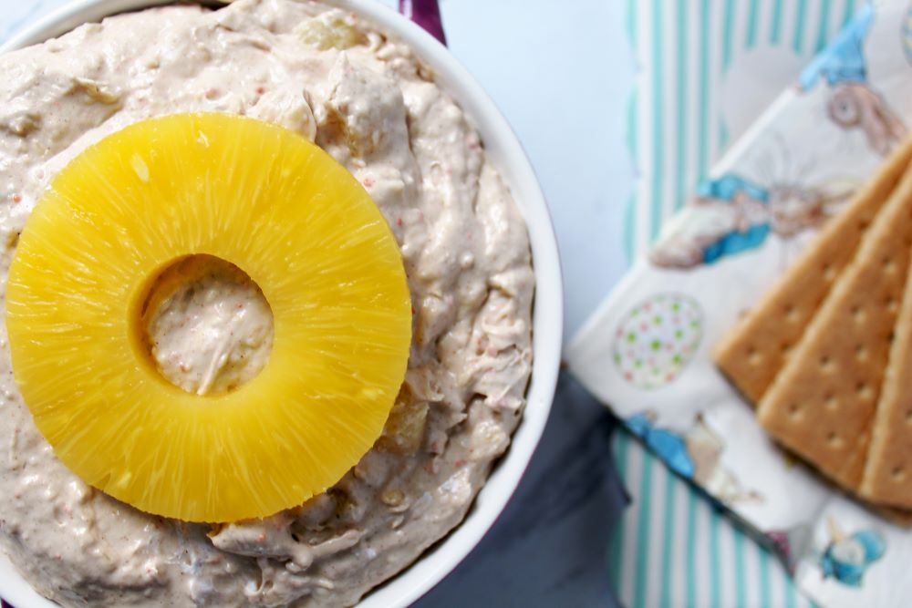 carrot cake dip with pineapple and peter rabbit napkins 1