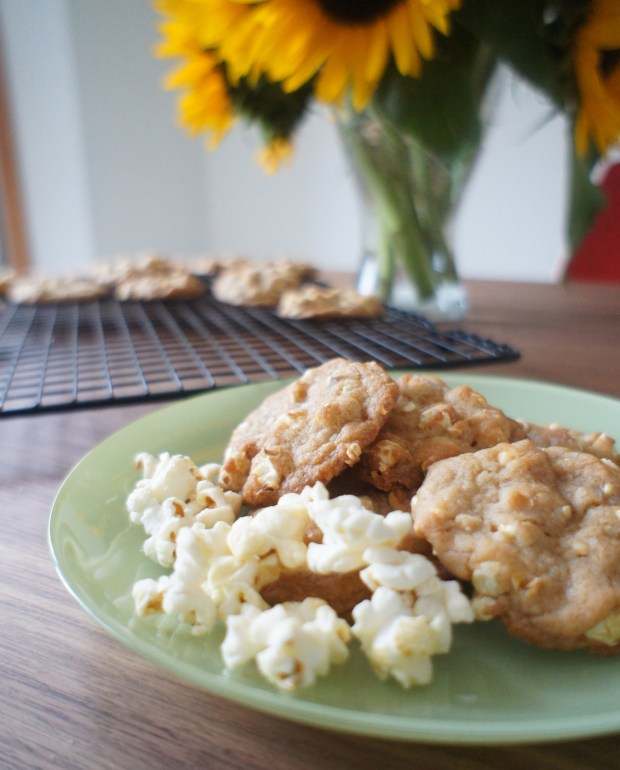 cookies on plate w/ popcorn- vertilc