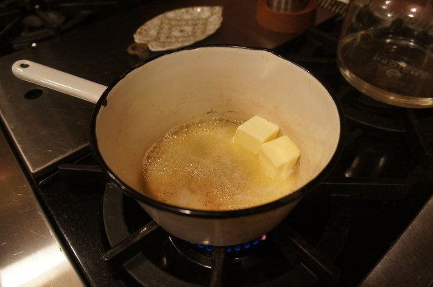 butter melting in saucepan