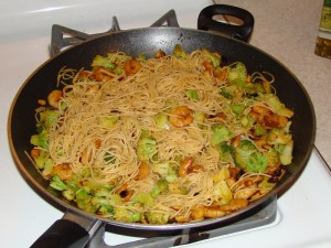 Pine Nuts, Shrimp, & Broccoli Combined With Pasta