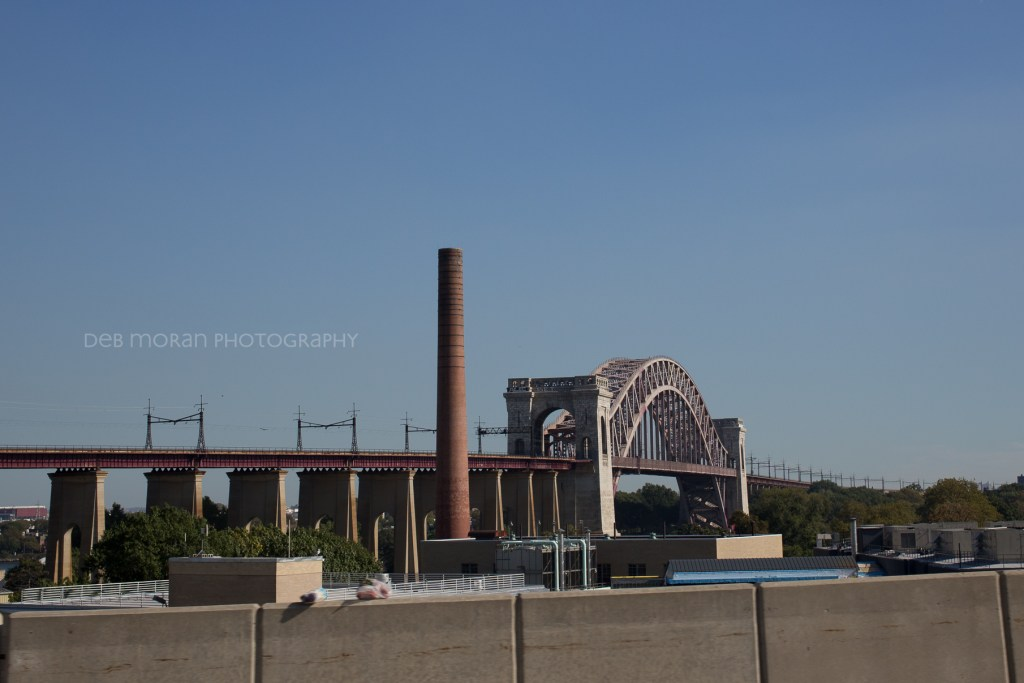 Hell Gate Bridge viewed from an NYC taxi.