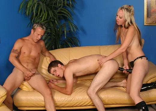 MMF Bisexual Strap On Threesome