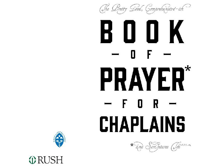 A New BAH Publication: The Book of Prayer for Chaplains