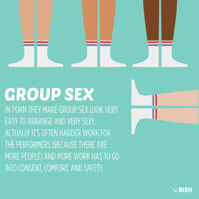 Four men porn actors all wearing white socks, which is common in group sex scenes for some reason
