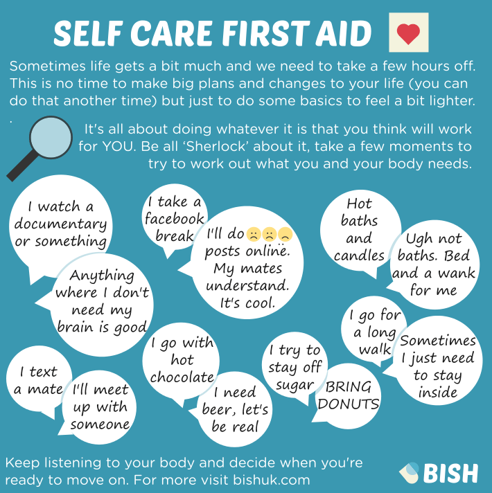 Self care first aid. Sometimes life gets a bit much and we need to take a few hours off.
