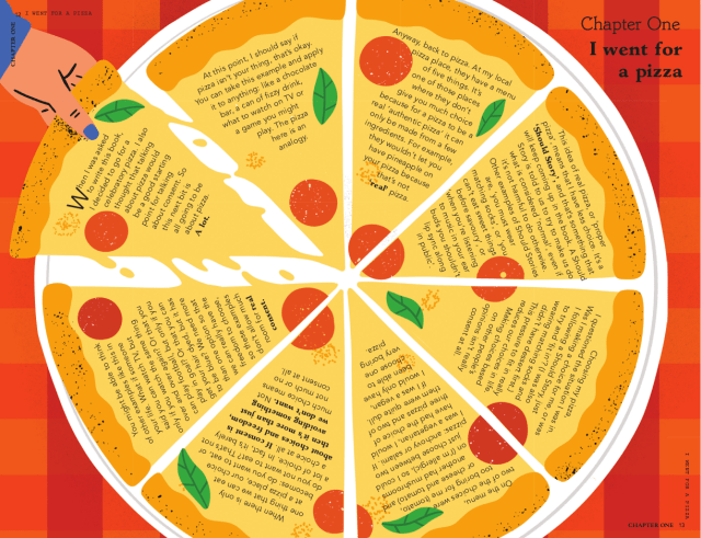 I went for a pizza. Taken from can we talk about consent. Text © 2021 Justin Hancock. Illustrations © 2021 Fuchsia MacAree.