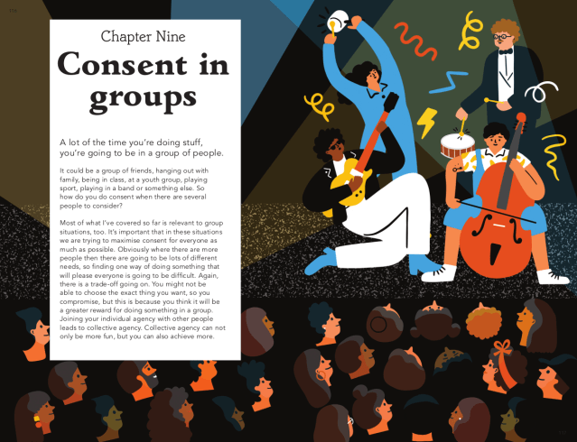 Consent in groups. Taken from can we talk about consent. Text © 2021 Justin Hancock. Illustrations © 2021 Fuchsia MacAree.