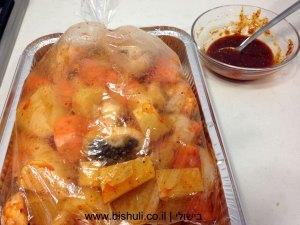 עוף בגריל - תפוחי אדמה ובטטות עם הטיבול בשקית קוקי
