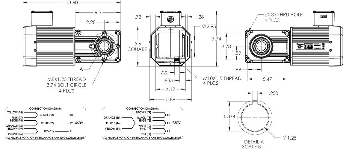 PowerSTAR 730 Series Right Angle Hypoid Gearmotor 3PH 230