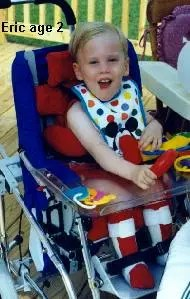 Happy and healthy two-year-old Eric (a  former 26-weeker) with PVL and cerebral palsy loves to meet people.