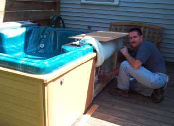 Electrician Mike donated his time to install Eric's Cinderella Pool