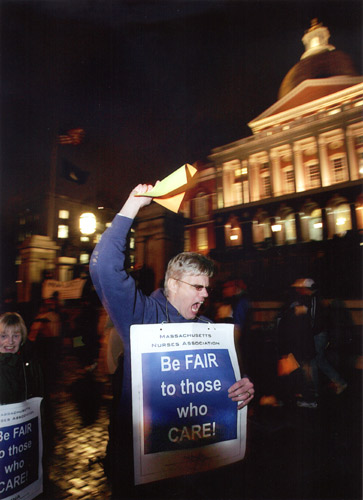 Richard Bissell, a Grafton Nurse, protesting lack of a contract for nurses.