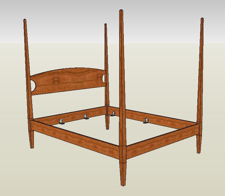 four poster bed in cherry maple curly