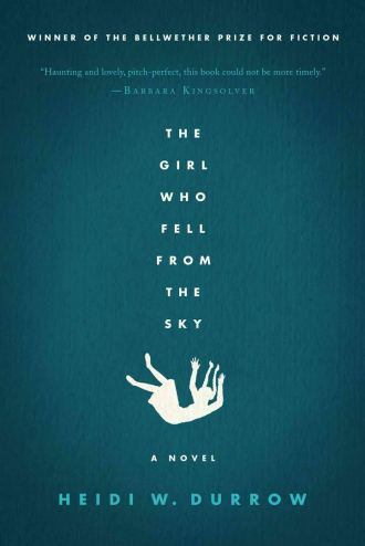The cover of The Girl Who Fell from the Sky, which features the title and the silhouette of a girl falling on a blue background
