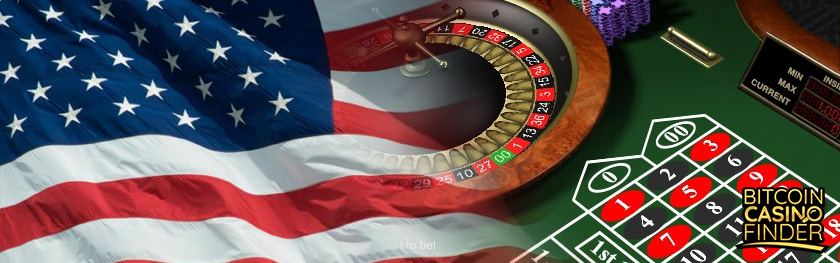 US Flag and Casino Roulette Table