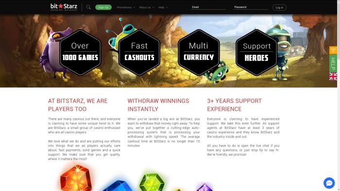 BitStarz Bitcoin Casino homepage