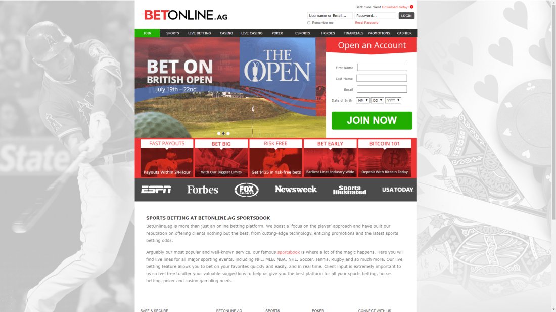 Bitcoin gambling website betonline homepage