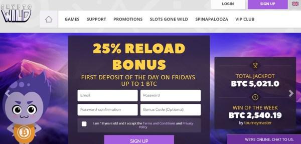 CryptoWild Bitcoin Casino homepage