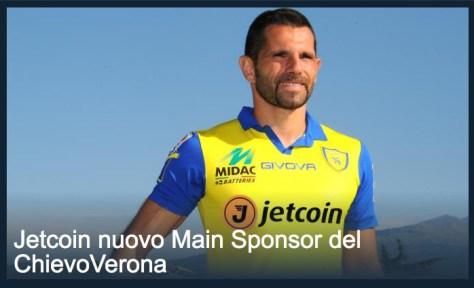 Il logo Jetcoin che appare sulle magliette del Chievo