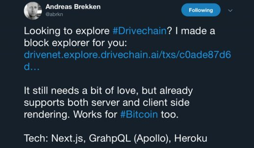 Drivechain Project Sees an Influx of Development Since Launch