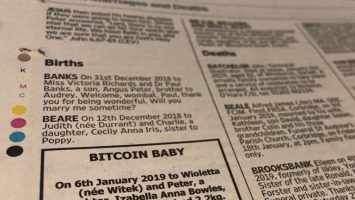 Newspaper Ad Seeks Donations for Bitcoin Baby's College Fund 1