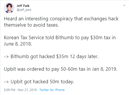 Was Upbit Hack An Attempt To Evade Taxes? 2