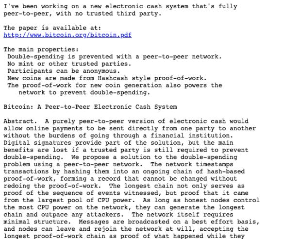 satoshi nakamoto email announcing bitcoin