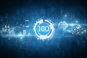 The letter ICO surrounded by white circles and blue background.