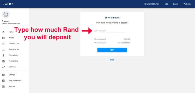 Luno deposit Rand