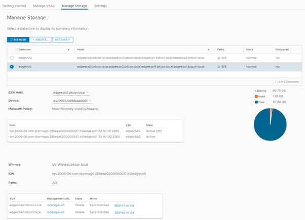 StorMagic vCenter plugin - manage storage