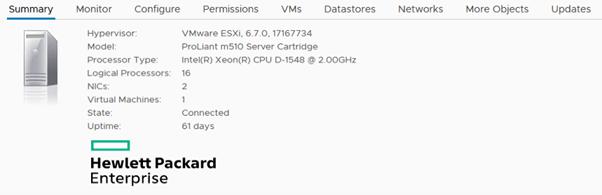 VMware ESXi deployed on a HPE Edgeline Proliant m510 server cartridge