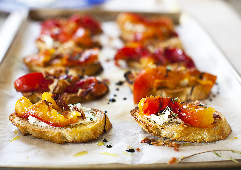 roasted plum crostini for breakfast