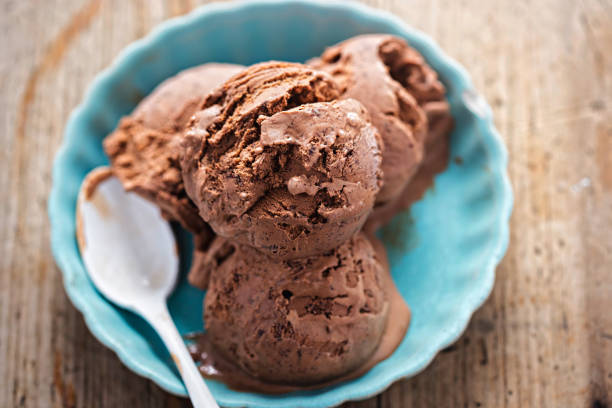 A scoop of chocolate ice cream