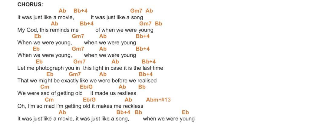 WHEN WE WERE YOUNG – ADELE PIANO CHORDS & Lyrics – Bitesize Piano