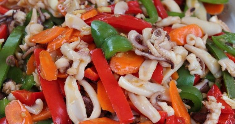 Baby octopus and squid stir fry recipe