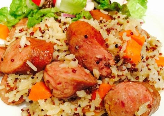 Pressure cooker quinoa rice with sausage