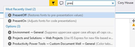 Enable Visual Studio Presentation Mode via Quick Launch