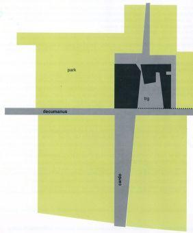 Skica tlocrta crkve i parka