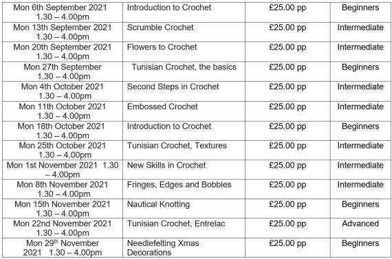 crochet, knotting and needlefelting classes