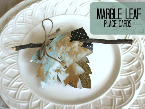 Marbled leaf Place Cards