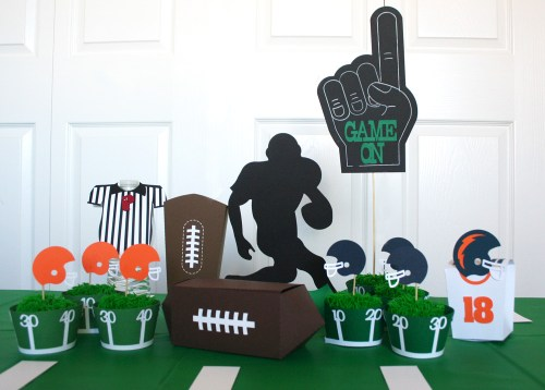 Football Party Paper Set. SVG cutting files available for this cute football themed party idea.
