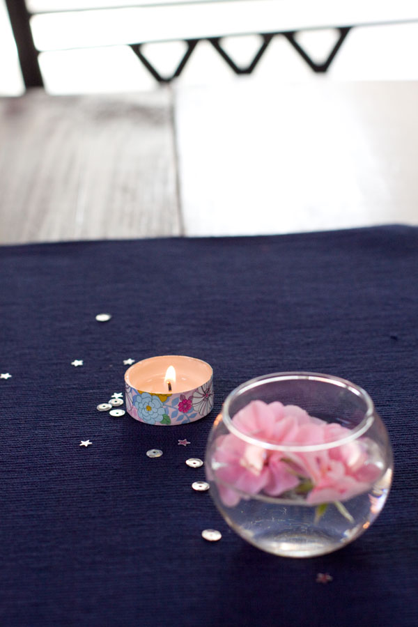 Simple Spring Decor Floating Flowers Washi Tape Candles