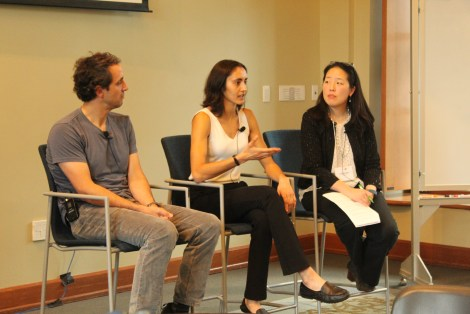 From left to right: Pascal Michaillat, Maya Mathur, and Cecilia Mo present their work at the 2019 BITSS Annual Meeting.