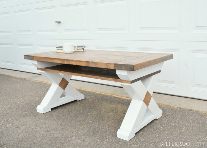 Rustic X Leg Coffee Table With Shelf