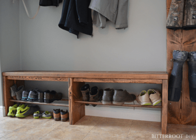 Easy Mudroom Bench with Shoe Rack
